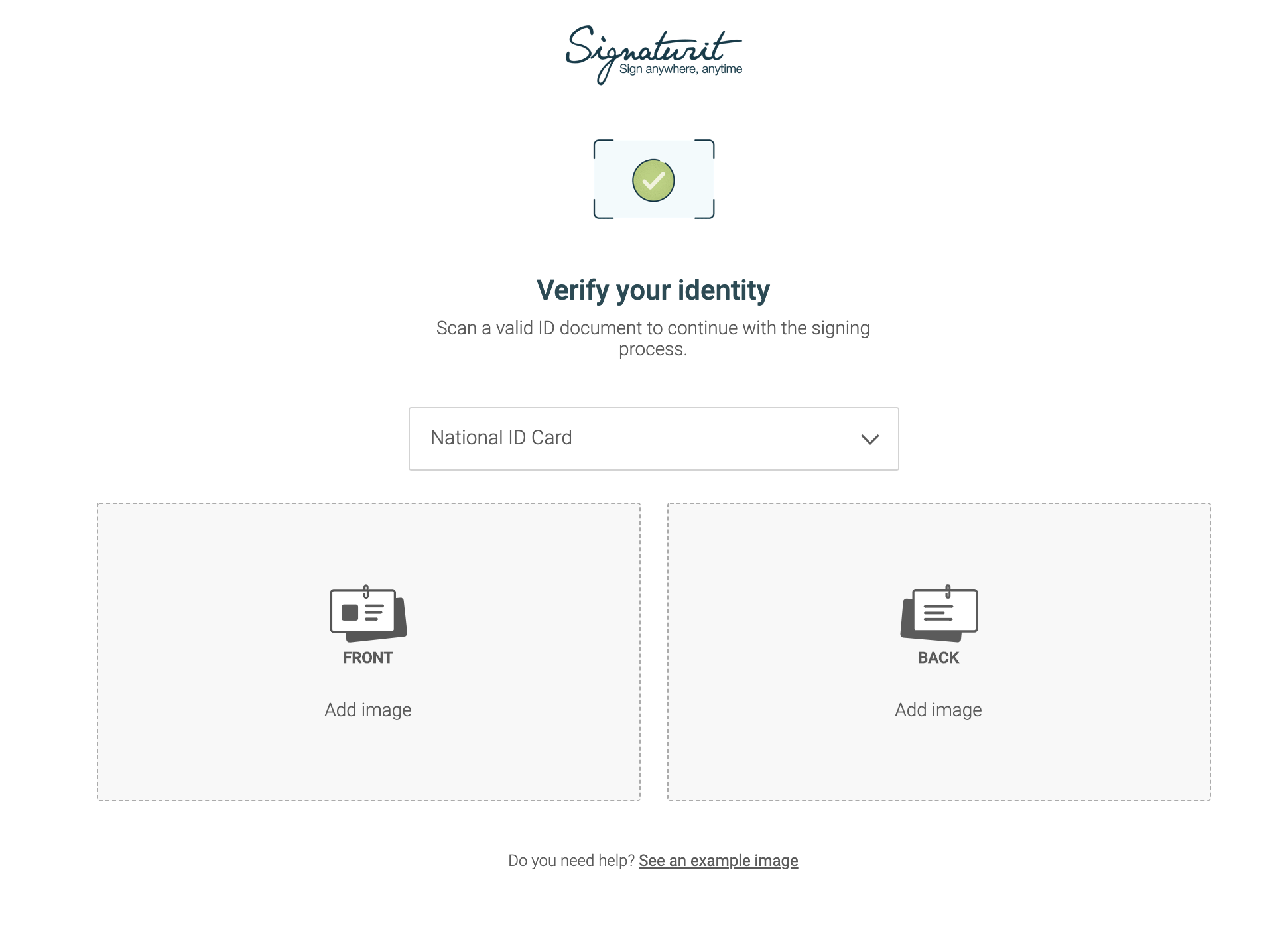 ID validation to access documents to be signed