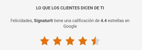 valoración de los clienttes de signaturit en google
