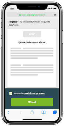 ejemplo de firma electrónica simple de Signaturit. Firma con un clic desde tu smartphone