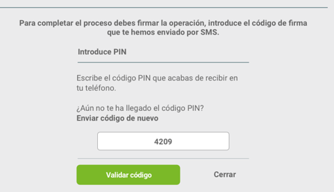 firma simple de signaturit con codigo PIN