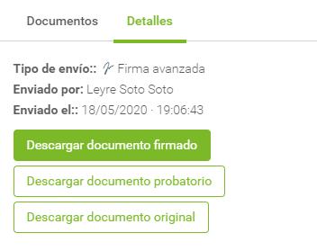 detalles de la trazabilidad de un documento enviado a firmar desde Signaturit