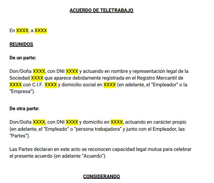 Extracto de la plantilla del acuerdo de teletrabajo